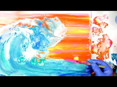 How to make a big splash! Liquid acrylic pour and whisk a luminous wave – YouTube