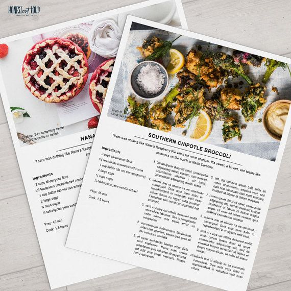 Printable Recipe Template   8.5x11 Photoshop Instant Download