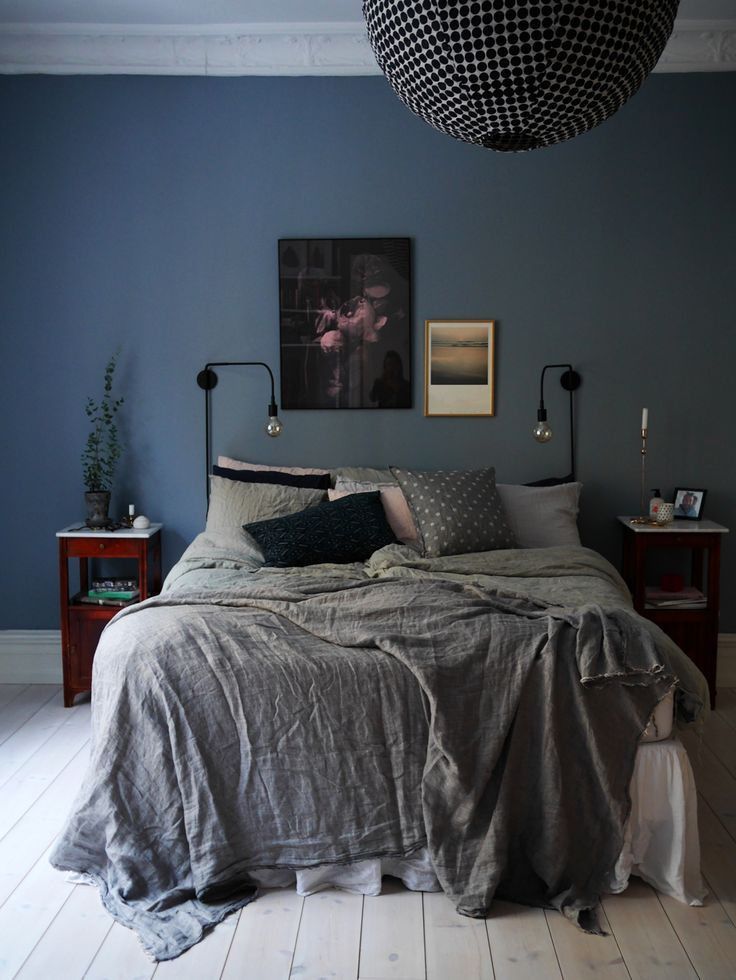 black spherical light fitting more wall colour bedroom blue wall
