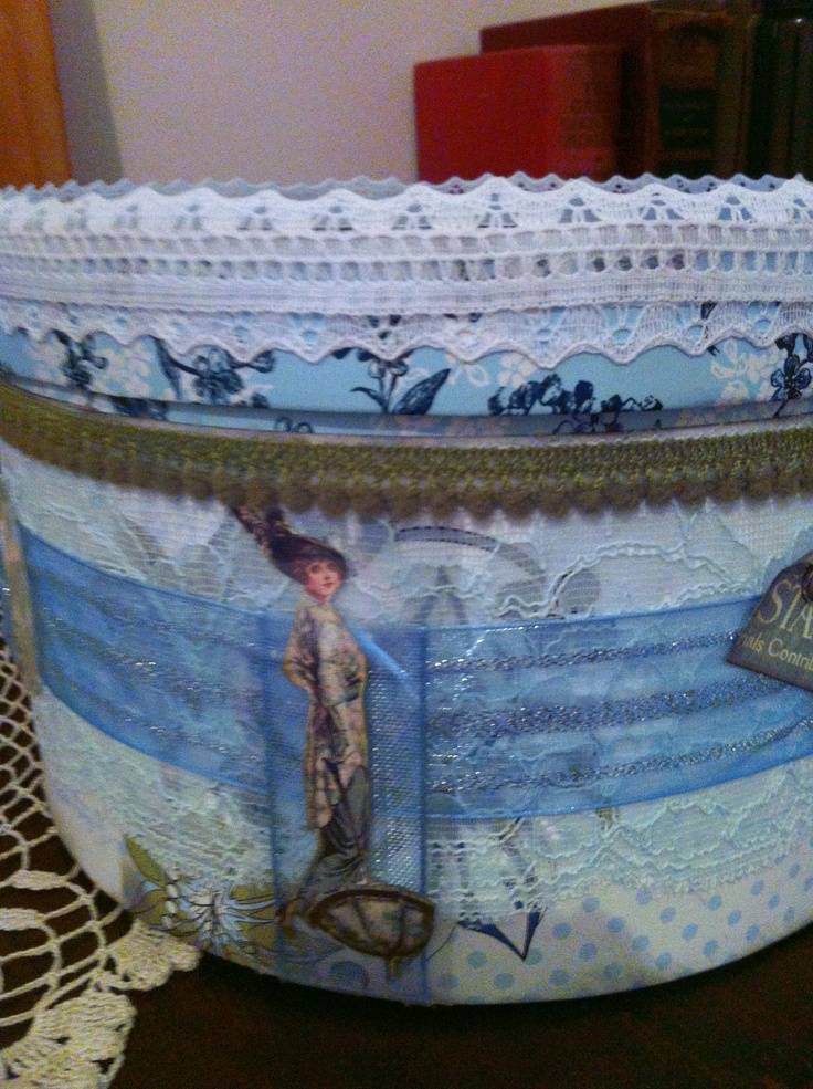 I decorated this craft hat box for my daughter this Christmas (don't tell).  The hat box was from a cheap shop and you can see the original pattern under the lid lip.  I used what lace I  had in my craft box.  The beautiful lady is from Graphic 45 paper.  I know she will find a use for this pretty hat box.  I will pin some other sides of the hat box as not sure how to do multiples as new to pinning today.