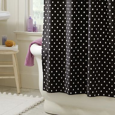 Dottie Shower Curtain: Hot Pink Polka Dots Bathroom, Bright Pink, Kids Bathroom, Dots Shower, Bathroom Remodel, Dotty Shower Curtains, Fabrics Shower Curtains, White Bathroom, Girls Bathroom