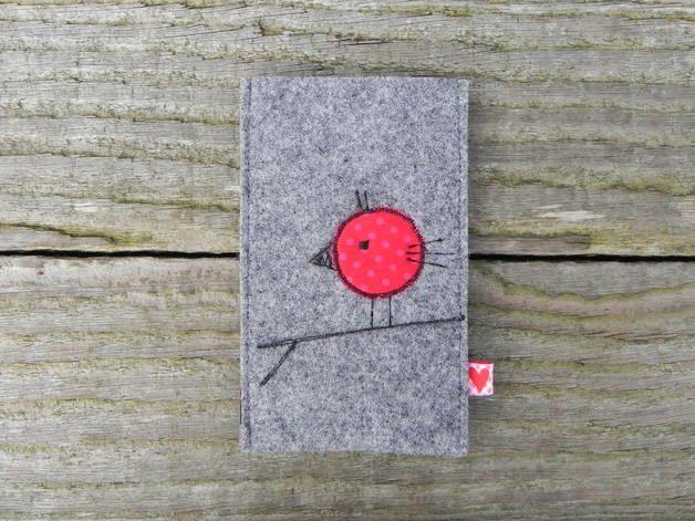 Handytaschen - Handytasche Filz *Vogel rot* - ein Designerstück von handgemachtes81 bei DaWanda