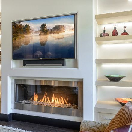 Fireplace with open lighted shelves either side. Modore 140 Fireplace by Element4
