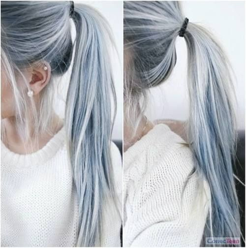 Blue and blonde hair. When blue meets grey meets ash blonde