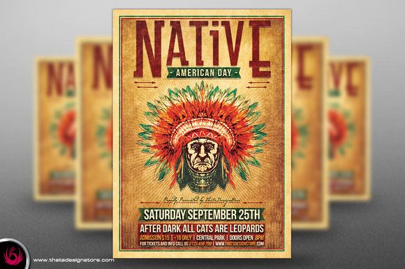Native American Day Flyer Template by Thats Design Studio on Creative Market