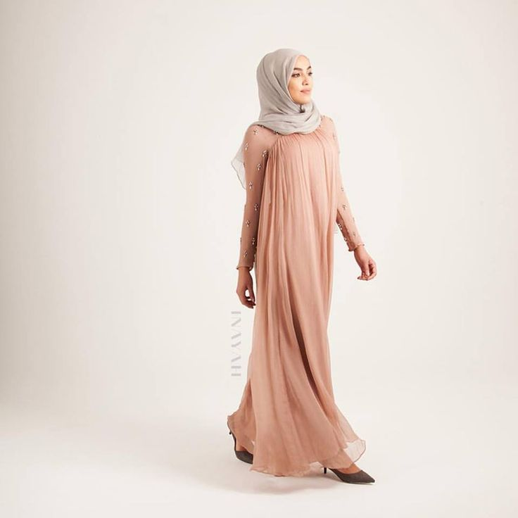 INAYAH | Alina Evening #Gown + Feather Grey Maxi Georgette #Hijab