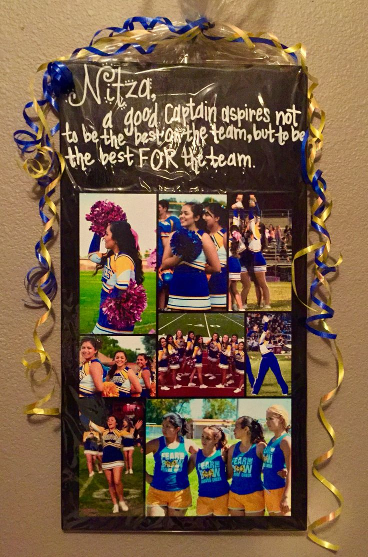 "Gift for Cheerleaders: Cheer Captain: DIY Photo Collage with motivational quote, ""A Good Captain Aspires not to be the Best On the Team, but to be the Best For the Team"". Photo, modge-podged to wood slab in black acrylic paint, writing in white paint pen, wrapped in cellophane."