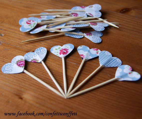 24 x Cath Kidston Blue Gingham Rose Heart by ConfettiConffeti, $4.80