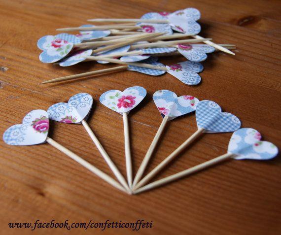 24 x Cath Kidston Blue Gingham Rose Heart by ConfettiConffeti, $4.80