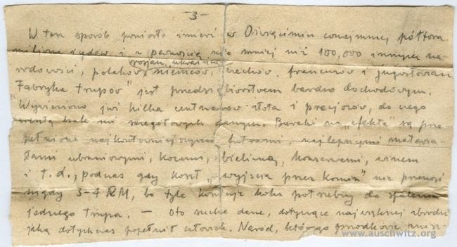 In May 53 original camp secret messages went to the Archives of the Auschwitz-Birkenau State Museum. Among them are copies of the camp's morgue books, or lists of names of those who were murdered in gas chambers. A few secret letters are materials previously unknown to historians of the Museum.