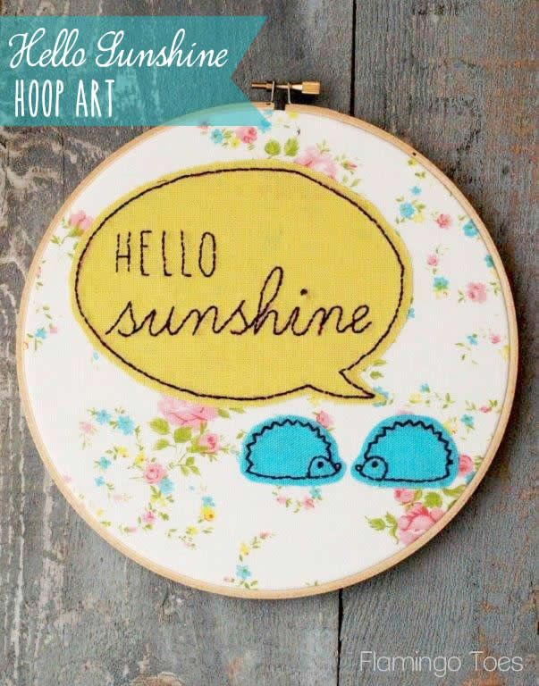 Hello Sunshine Embroidery Hoop Art. Use -Disappearing Ink Pen (to trace pattern)