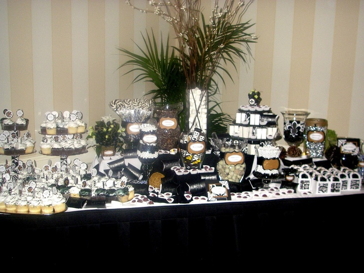 Black an white candy table for a 50th birthday party men for Table decoration 50th birthday