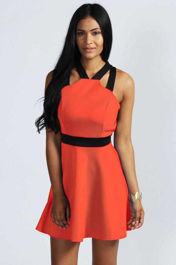 Fashion Girl Contrast Strap Short Red Skater Dress