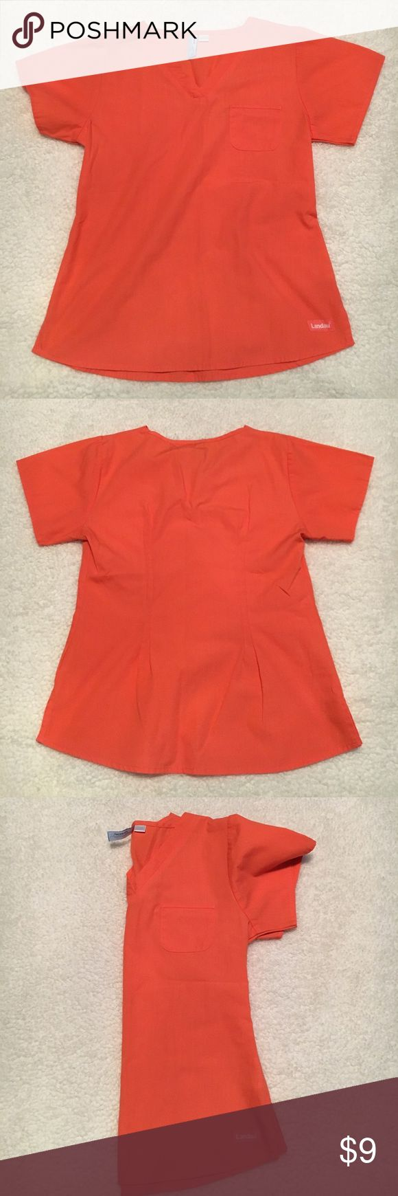 XS VIBRANT ORANGE Landau scrub top uniform Pre-loved and very well cared for extra Small Landau scrub top for women  Scrub top features a bright orange color, with flattering miniature pocket, and waist cut   Scrub top comes from a clean, smoke-free home Landau Tops