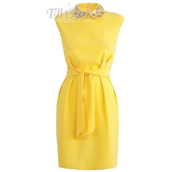 Yellow Sequins Decorated Women's Day Dress (Plus Size Available) (€24) ❤ liked on Polyvore featuring dresses, women plus size dresses, womens plus size cocktail dresses, yellow dress, yellow sequin dress and sequin embellished dress