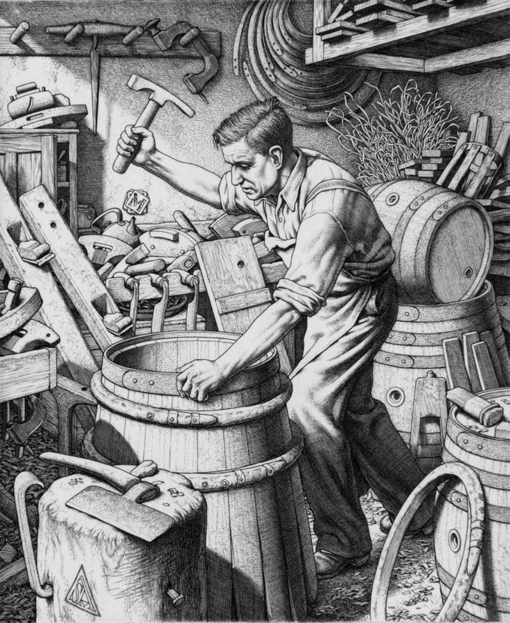 THE COOPER  by Stanley Anderson (British 1884-1966) - engraving