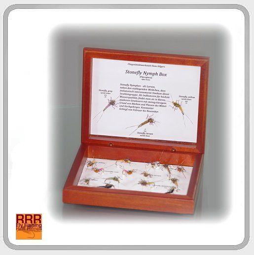 HH - Spezial Steinfliegenset in Edelholzbox HH - Spezial Steinfliegensortiment in Box Realistic Touch Steinfliegenbox - 17 versch. Muster - edle Schmuckkassette für Sammler & Fischer! Hans