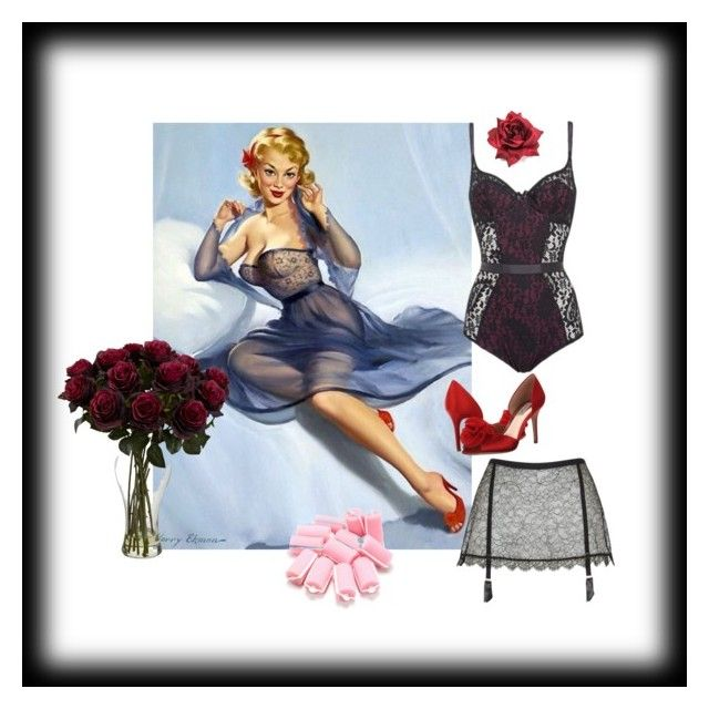 """""""Gil Elvgren - get the style"""" by christina-63 on Polyvore featuring Agent Provocateur and Badgley Mischka"""