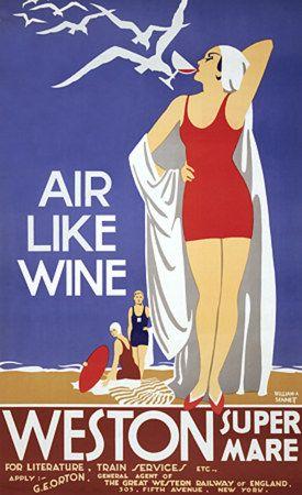 Weston Super Mare, England by  Sennett  vintage travel poster #essenzadiriviera www.varaldocosmetica.it/en