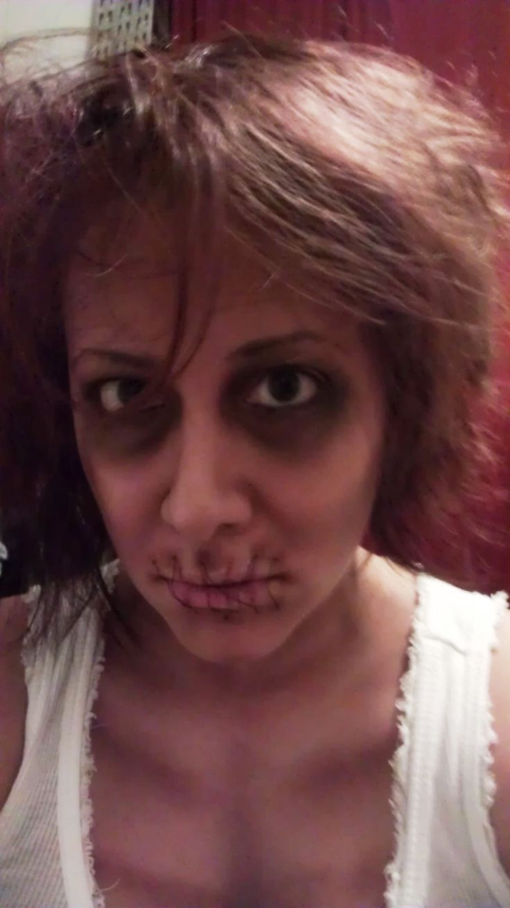 Zombie Makeup on myself! Sewn lips and sunken eyes www ...