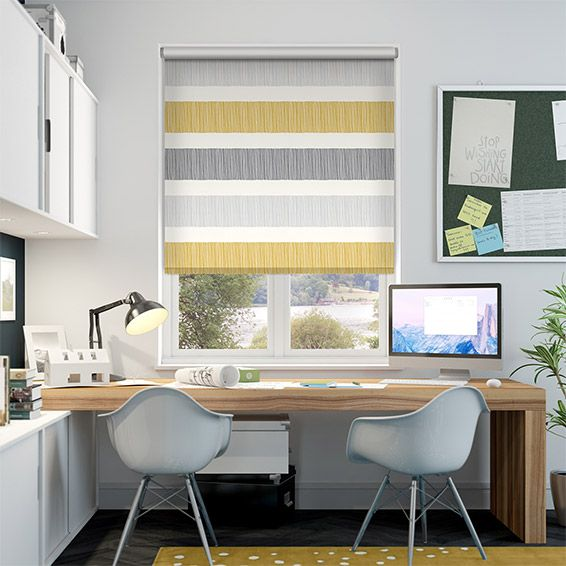 Smart, modern and cool, the Cardigan Stripe Flax Grey hosts horizontal stripes of yellow ochre, dove grey and slate across a softly textured backdrop.