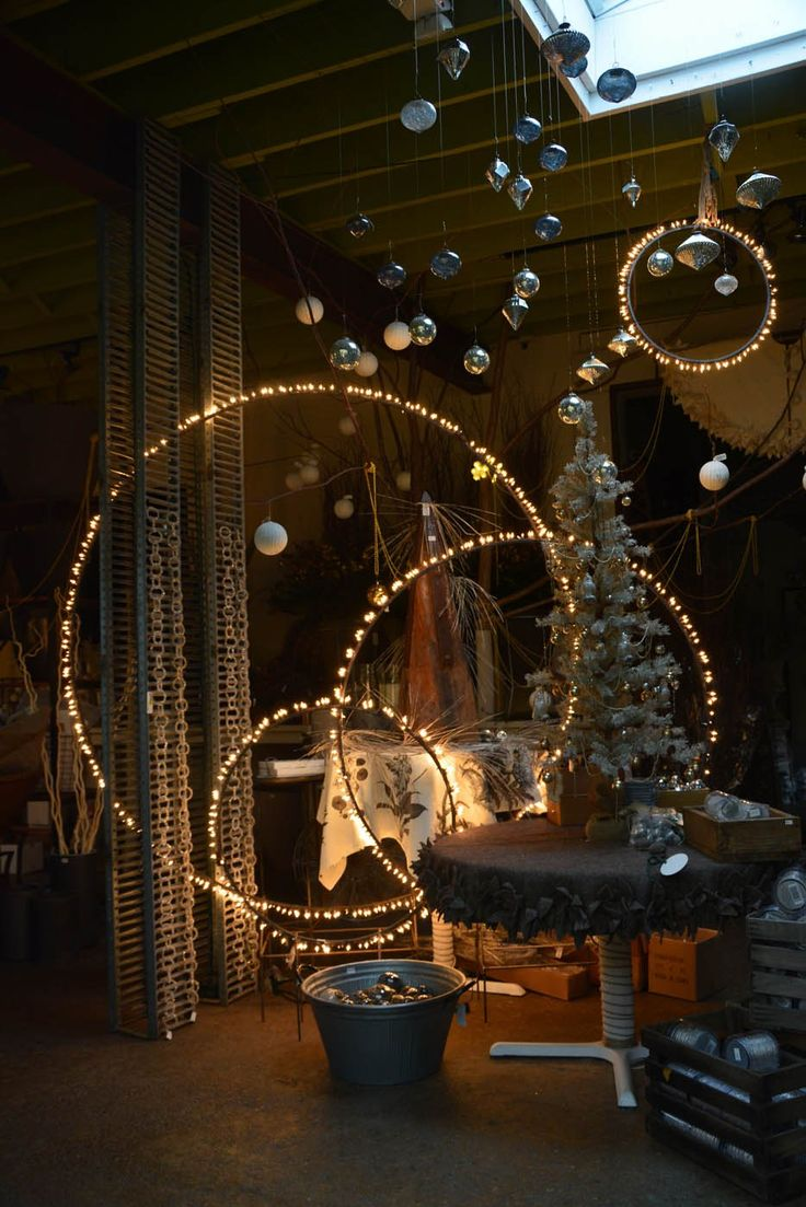 Lighted Hanging and Spiked Hoops   Diy christmas lights ...