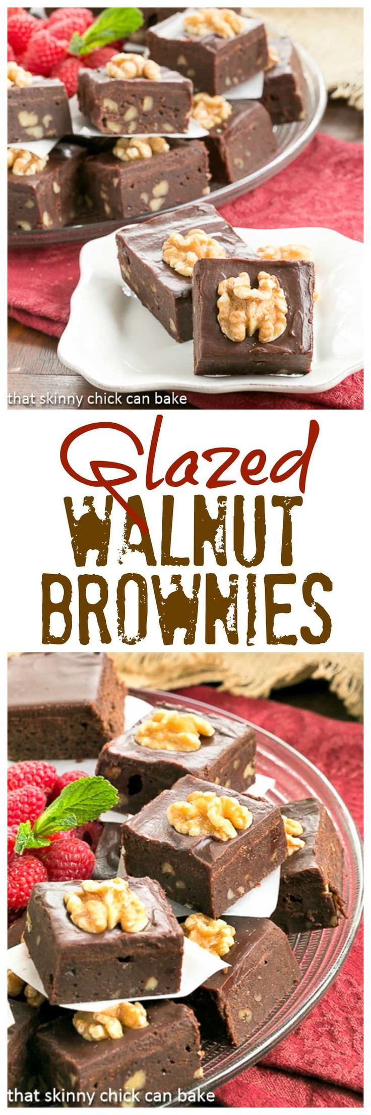 Chocolate Glazed Walnut Brownies | With or without nuts, these are killer!