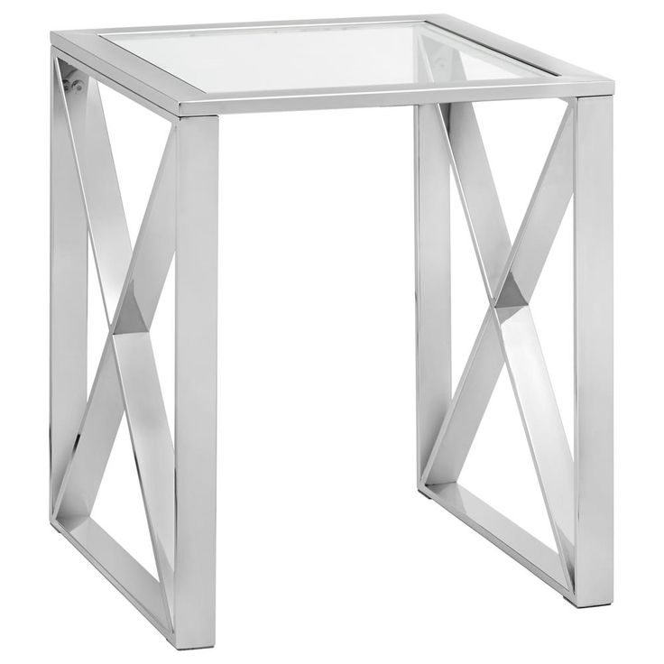Glass-Top Side Table with Stainless Steel Frame/Coffee Tables & Side Tables/Living Room/Furniture|Bouclair.com  Bouclair