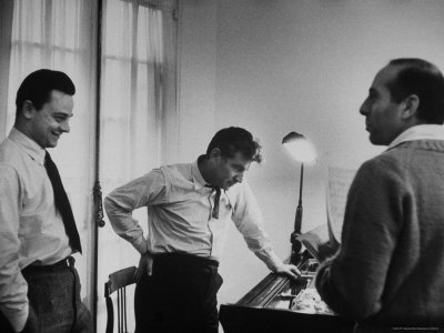 """Leonard Bernstein, Jerome Robbins and Stephen Sondheim discussing """"West Side Story."""" Too bad the smallest size is too large for the display. :("""