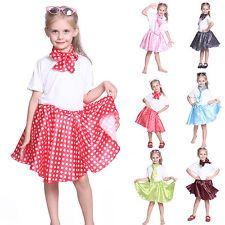1950s Girls Kids Rock N Roll Grease Polka Dot Skirt Fancy Dress Dancewear