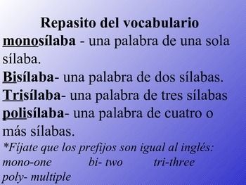 Teach students how to divide Spanish words into  syllables prior to teaching the basic rules for accents. PPT in PDF format.