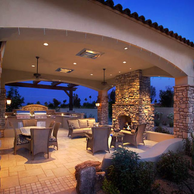 Covered Patio Design. This would be my whole backyard in Vegas but I love this!!!