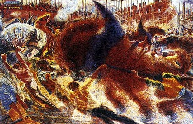 Umberto Boccioni Most Important Art | The Art Story - The City Rises - 1910. Considered to be the first Futurist painting.