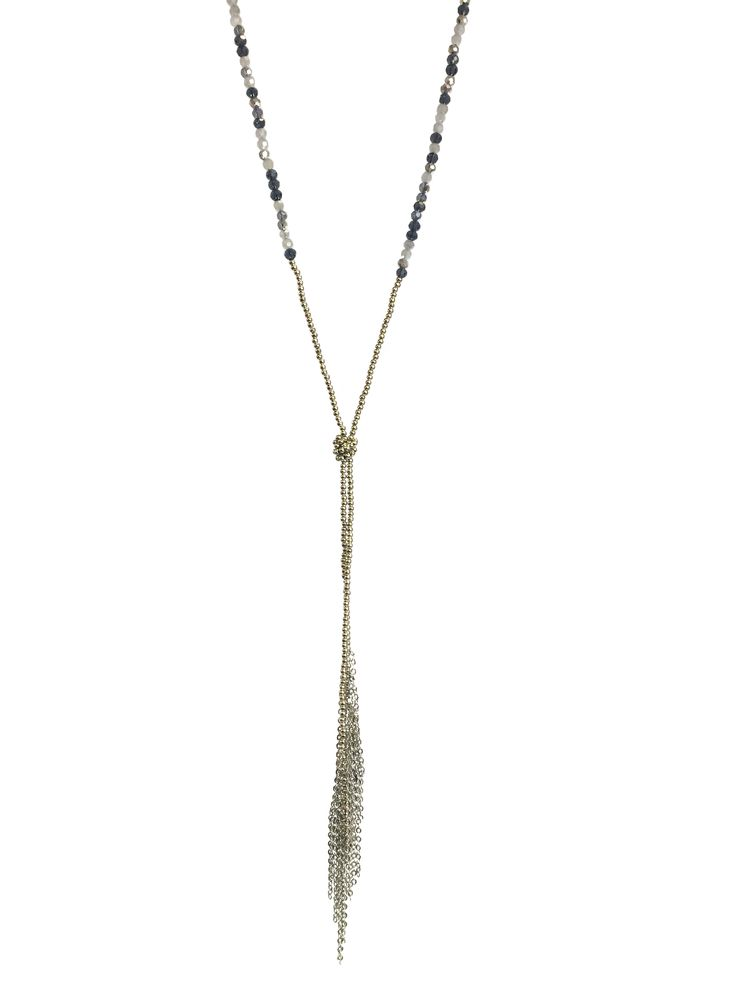 One Button long chain with tassel ends and glass beads necklace #silver #black #grey #glamorousgreys #necklace #accessories #onebutton Click to buy from the One Button shop.