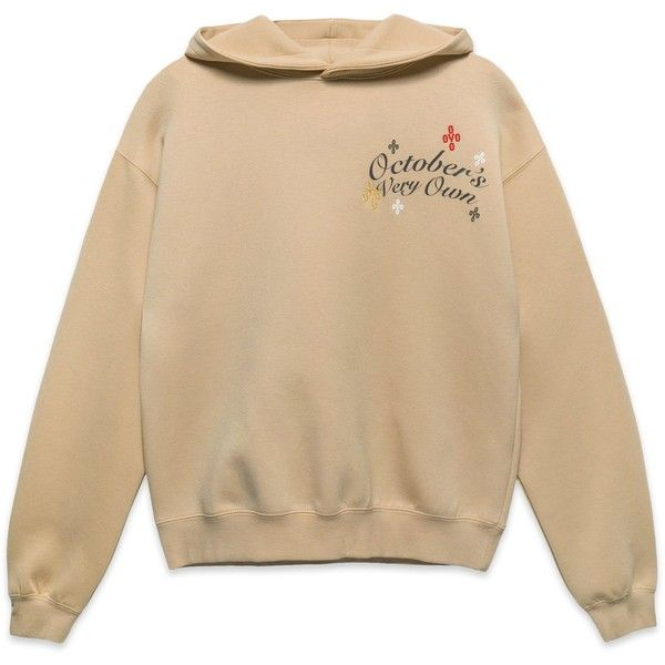 FLORAL POM POM SPORT HOODY TAN ($118) ❤ liked on Polyvore featuring tops, hoodies, clothing - hoodies, floral print tops, sports hoodies, floral hooded sweatshirt, floral tops and brown hoodie