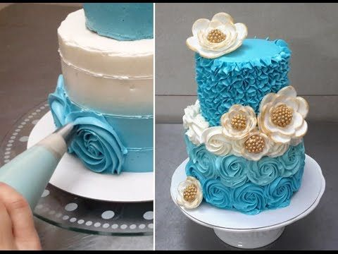 Rose Swirl Cake - Piping Buttercream Roses. How To by CakesStepbyStep - YouTube