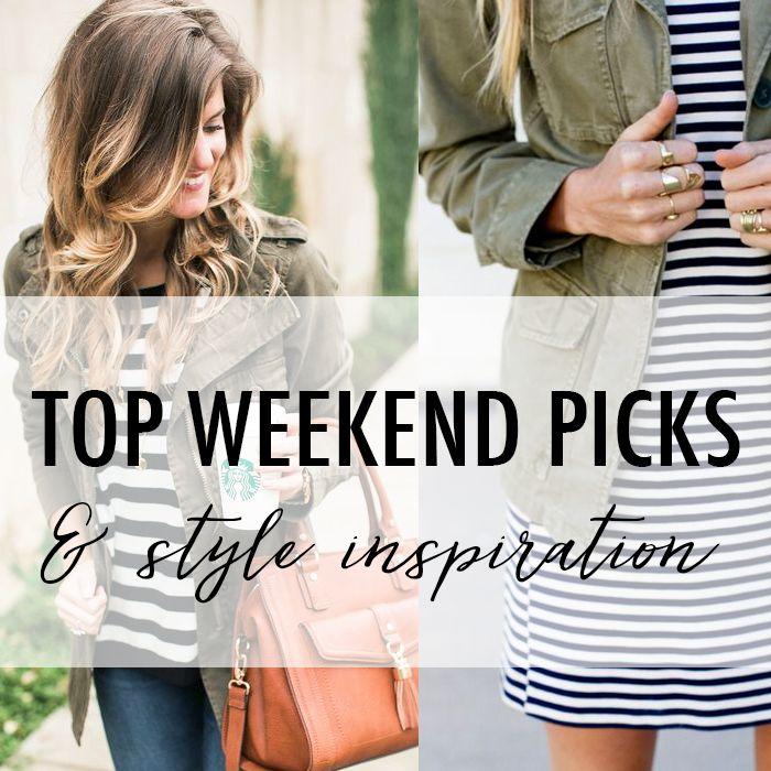 Striped Dress + Utility Jacket Style + Weekend Sales