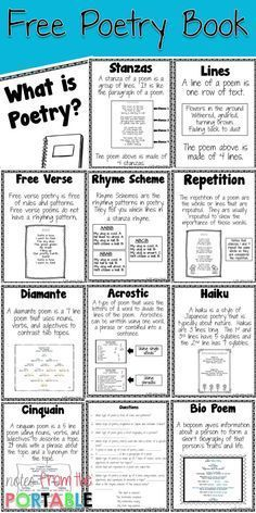 FREE Poetry Book and Anchor Charts for student notebooks. Great for literacy centers and test prep