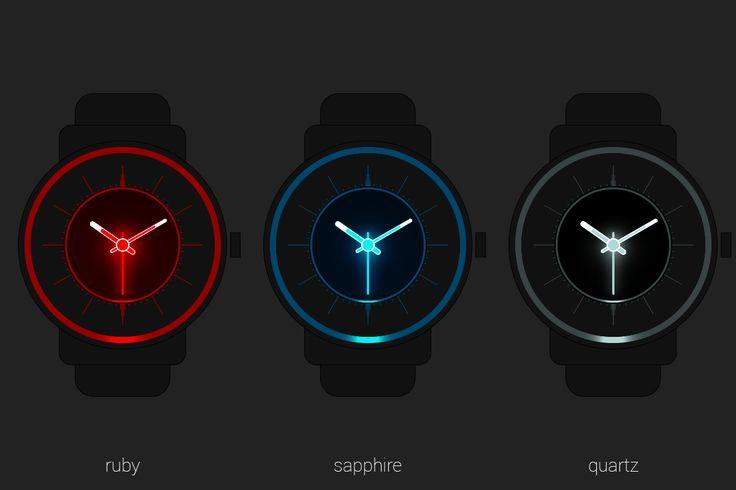 #ruby #sapphire #quartz #gemstones #minerals #light #glow #illumination #analog #watchface #smartwatch #wearable #androidwear #lggwatchr #moto360 #design #apparel