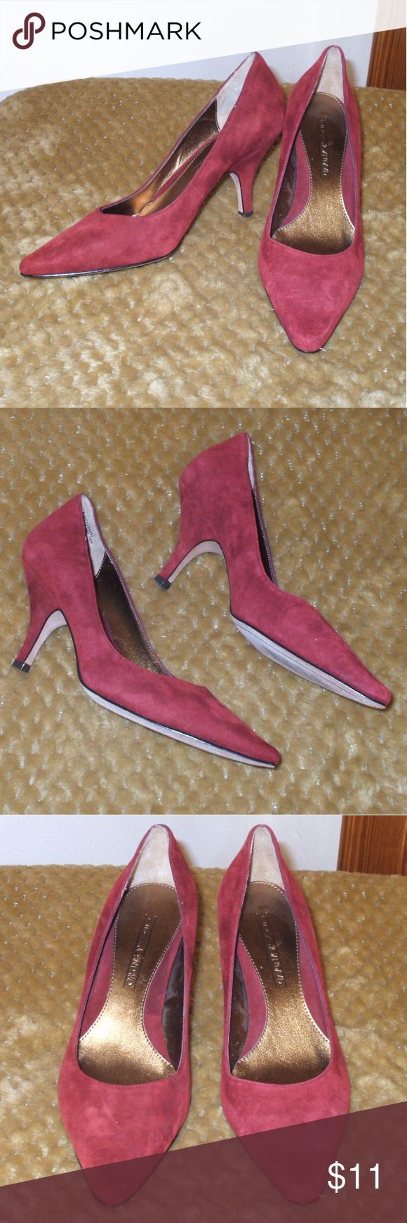 """Wine Red Suede Pump Heels Circa Joan & David Suede Pumps Wine red Size 6M 2.75"""" heel Genuine leather upper & sole Stunning used condition smoking home Joan & David Shoes Heels"""