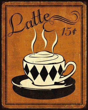 Latte: Coff Iv, Latte Prints, Fast Delivery, Posters Prints, Coffee Iv, Art Prints, Coffee Art, Iv Prints, Retro Coffee