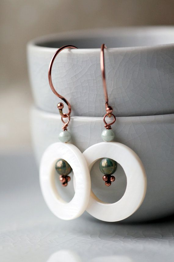 Pretty white donut shell beads with green / by rosiebudjewellery, £5.00
