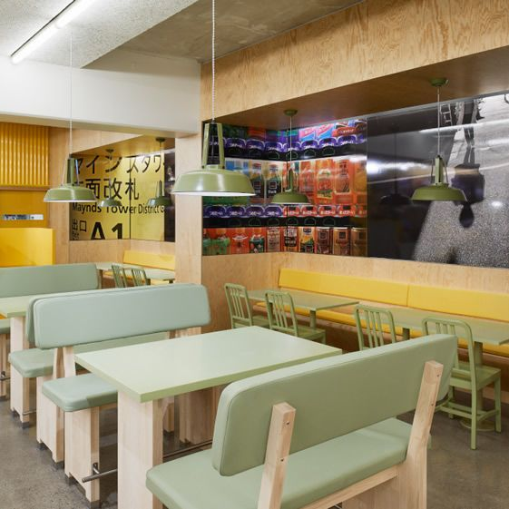 Lomar Arkitekter's team did the business on the Stockholm venue. Directed by the food, their aesthetic is Pan-Asian, with lots of Japanese and Korean modernist flavour through unfussy seating and tables, laminate pop culture prints on the walls, and chunky text by graphics firm JVD...