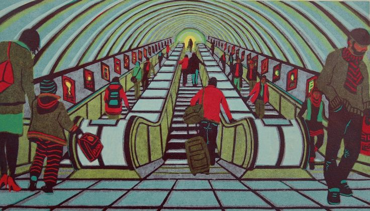 Gail Brodholt - Any Given Saturday - linocut print