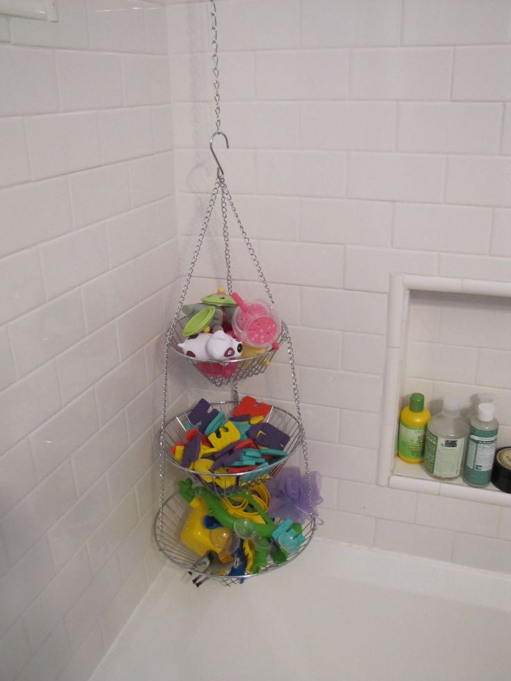 Our New Bath Toy Caddy From A Fruit Basket. Easy Access And Organization  For The