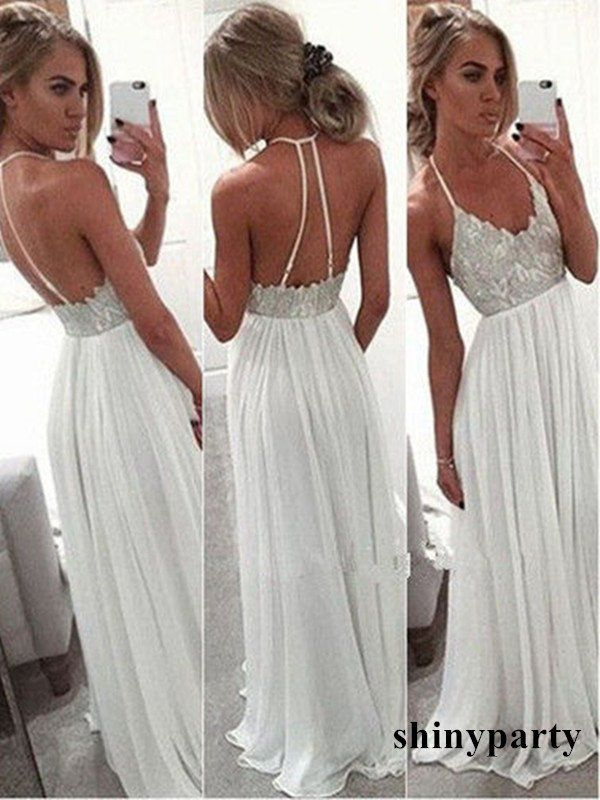 Custom Made White A-line Backless Long Prom Dresses, Formal Dress #shinyparty #prom #dress #formal #white #backless #long #promdress