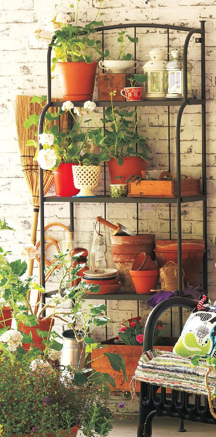 Canadian Living Magazine  12 budget-friendly ways to decorate your home's Make modestly sized pots appear more substantial by grouping them on a multitiered plant stand or baker's rack.