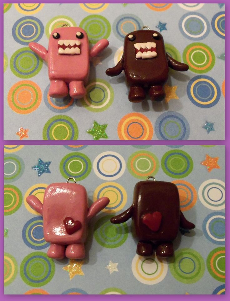 Domo couple charm  #domo #polymerclay  visit my shop on etsy! www.etsy.com/shop/TheCraftyWhale