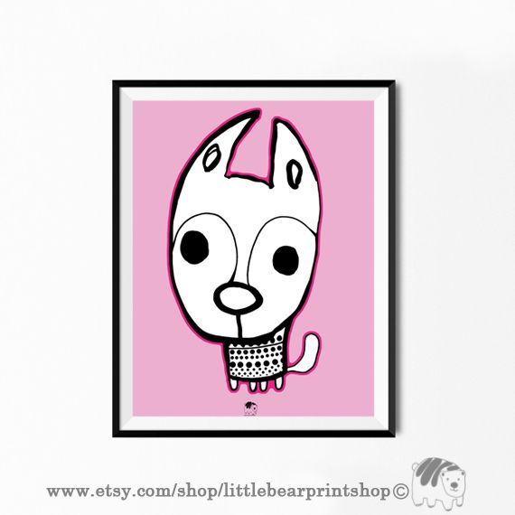 Cute Dog Print in Pink Size A2 Digital Download 8.68€. Printable artwork is a beautiful, quick and cost effective way of updating your art. Available on Etsy. ❤️🐶