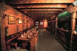 """Fjörukráin - A Viking Restaurant in Reykjavik, Iceland. The Viking dinner includes an hors d'oeuvre, delicious mountain lamb and skyr (yoghurt-like) dessert with fruits. Served with Brennivín (Aquavit), otherwise known as """"Black Death"""", in sheep/rams horns. They also offer """"Mead """" the genuine Viking drink.   And at last but not least: """"Viking Kidnapping"""" is available upon request....??? Sounds even better than the menu."""